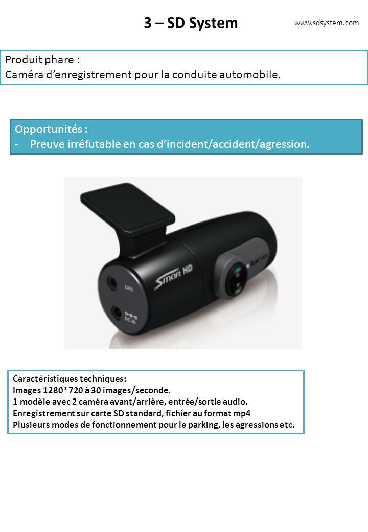 3 – SD System Produit phare : Caméra denregistrement pour la conduite automobile. Opportunités : -Preuve irréfutable en cas dincident/accident/agressi
