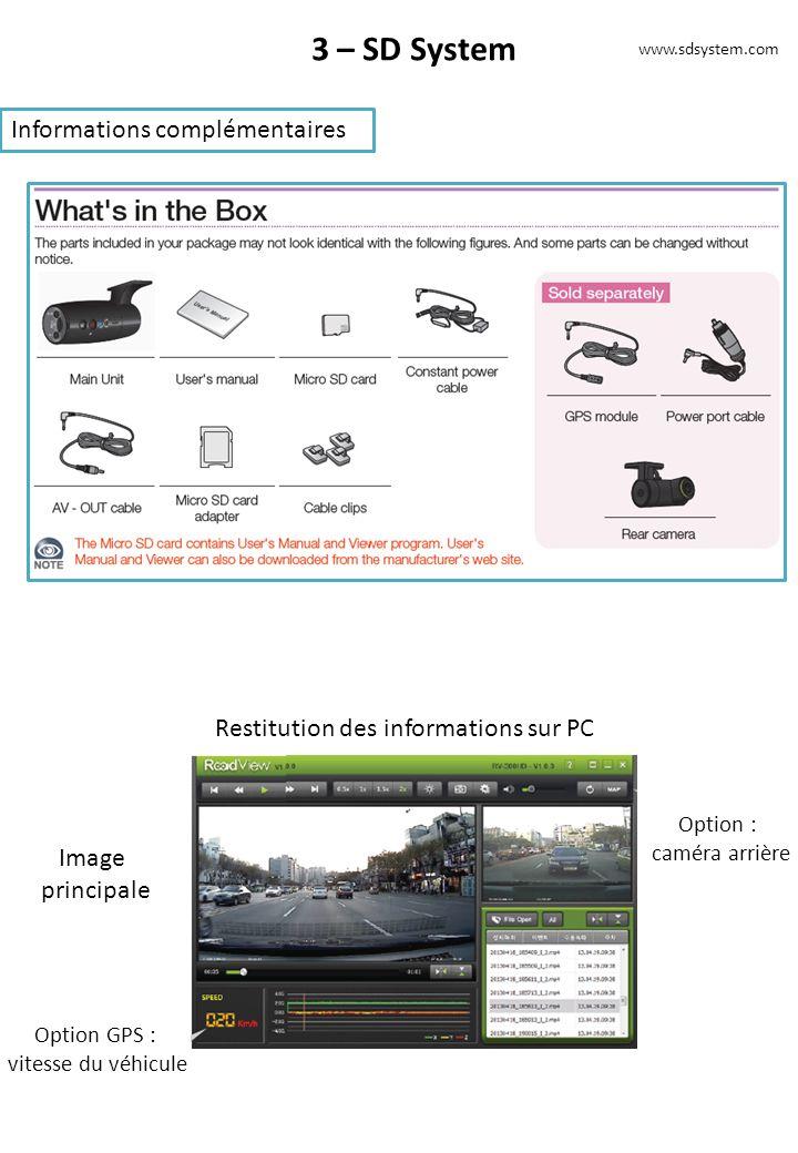 3 – SD System Informations complémentaires www.sdsystem.com Restitution des informations sur PC Image principale Option GPS : vitesse du véhicule Option : caméra arrière
