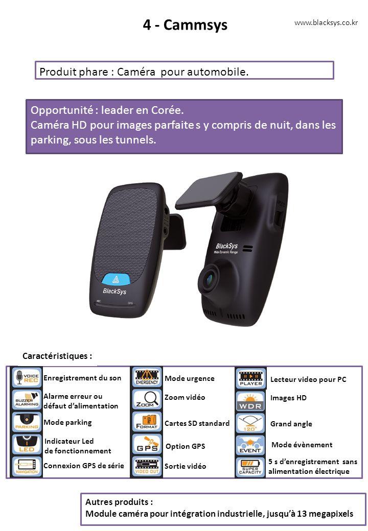 4 - Cammsys Produit phare : Caméra pour automobile. Opportunité : leader en Corée. Caméra HD pour images parfaite s y compris de nuit, dans les parkin