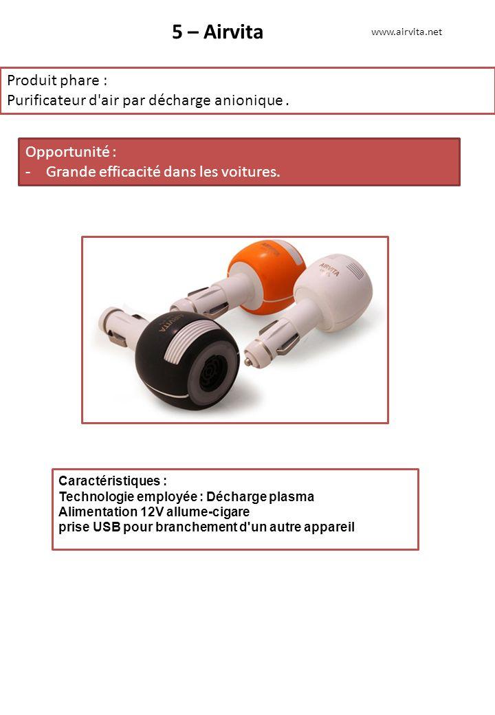 5 – Airvita Produit phare : Purificateur d'air par décharge anionique. Opportunité : -Grande efficacité dans les voitures. www.airvita.net Caractérist