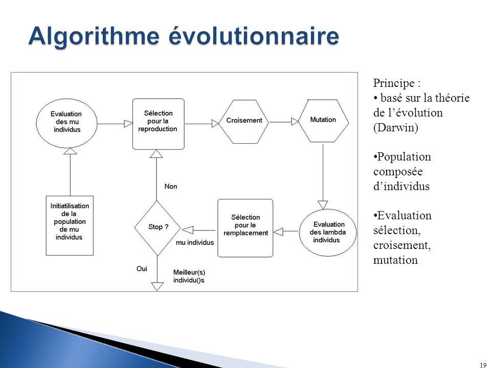 19 Principe : basé sur la théorie de lévolution (Darwin) Population composée dindividus Evaluation sélection, croisement, mutation