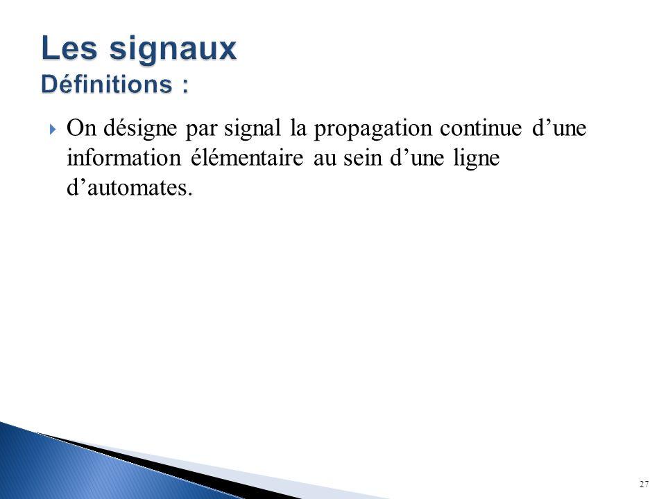 On désigne par signal la propagation continue dune information élémentaire au sein dune ligne dautomates. 27