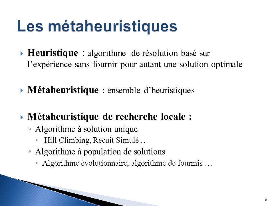 Heuristique : algorithme de résolution basé sur lexpérience sans fournir pour autant une solution optimale Métaheuristique : ensemble dheuristiques Métaheuristique de recherche locale : Algorithme à solution unique Hill Climbing, Recuit Simulé … Algorithme à population de solutions Algorithme évolutionnaire, algorithme de fourmis … 8