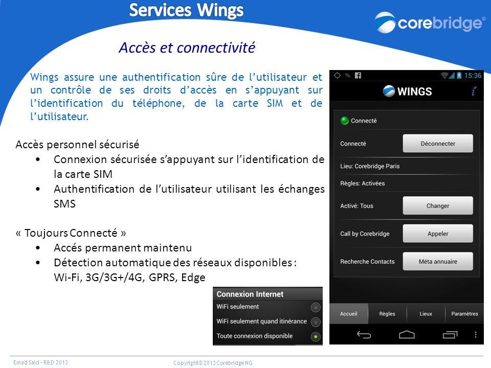 Emad Said – R&D 2013 Copyright© 2013 Corebridge NG Accès personnel sécurisé Connexion sécurisée sappuyant sur lidentification de la carte SIM Authenti