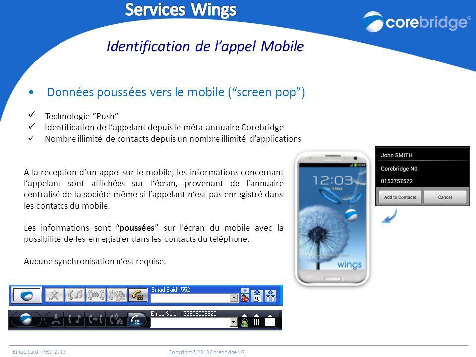 Emad Said – R&D 2013 Copyright© 2013 Corebridge NG Données poussées vers le mobile (screen pop) Technologie Push Identification de lappelant depuis le