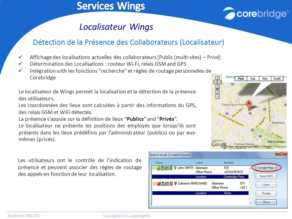 Emad Said – R&D 2013 Copyright© 2013 Corebridge NG Localisateur Wings Détection de la Présence des Collaborateurs (Localisateur) Affichage des localis