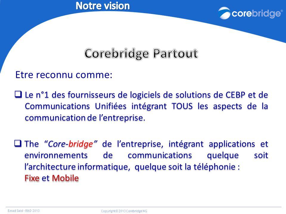Emad Said – R&D 2013 Copyright© 2013 Corebridge NG Etre reconnu comme: Le n°1 des fournisseurs de logiciels de solutions de CEBP et de Communications