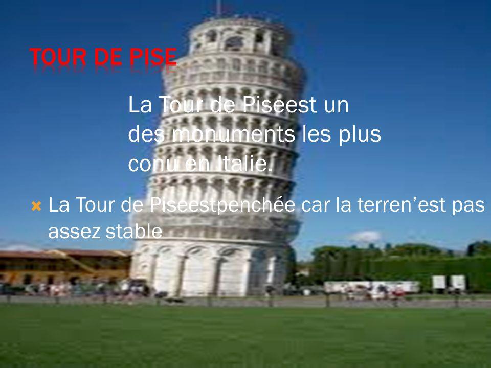 La Tour de Piseest un des monuments les plus conu en Italie.