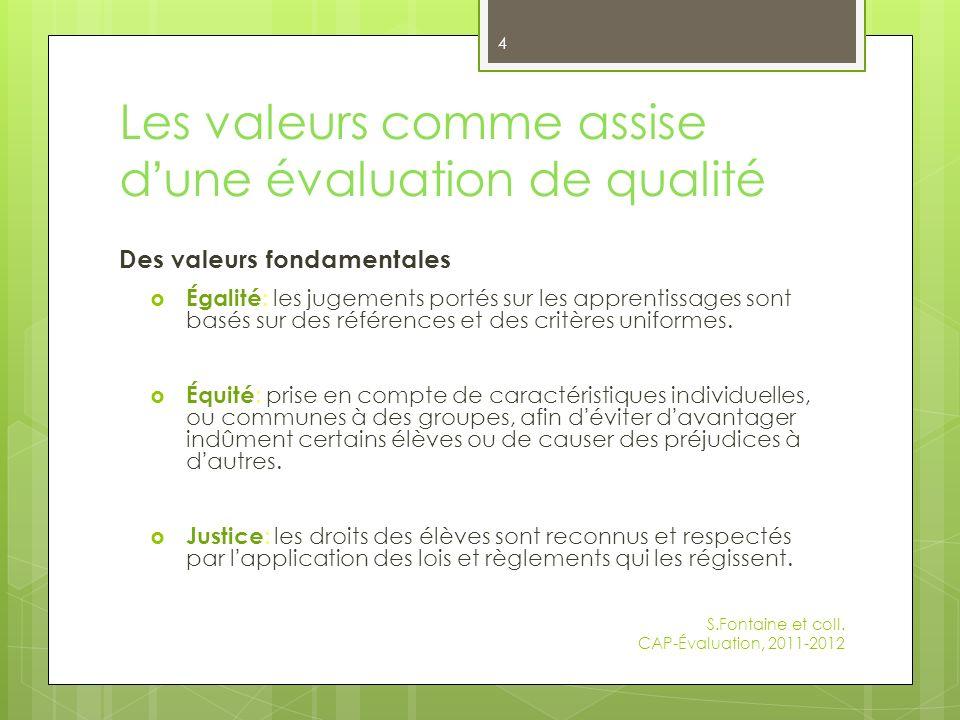 Les valeurs comme assise d une évaluation de qualité Des valeurs fondamentales Égalité : les jugements portés sur les apprentissages sont basés sur des références et des critères uniformes.