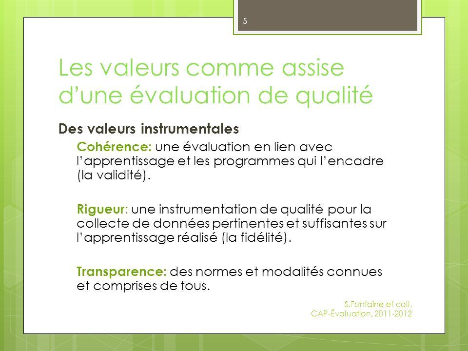 Les valeurs comme assise d une évaluation de qualité Des valeurs instrumentales Cohérence: une évaluation en lien avec lapprentissage et les programmes qui lencadre (la validité).