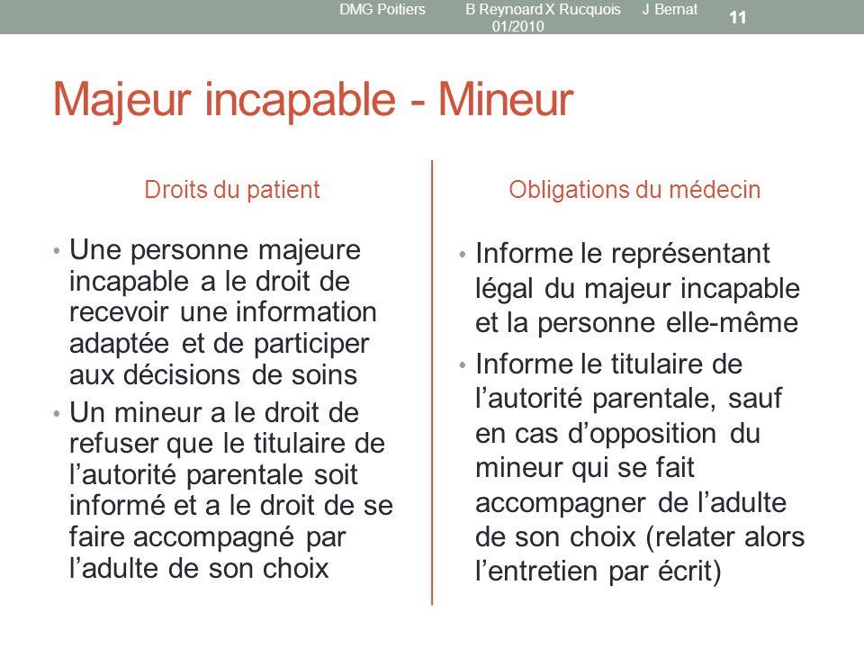 Majeur incapable - Mineur Droits du patient Une personne majeure incapable a le droit de recevoir une information adaptée et de participer aux décisio