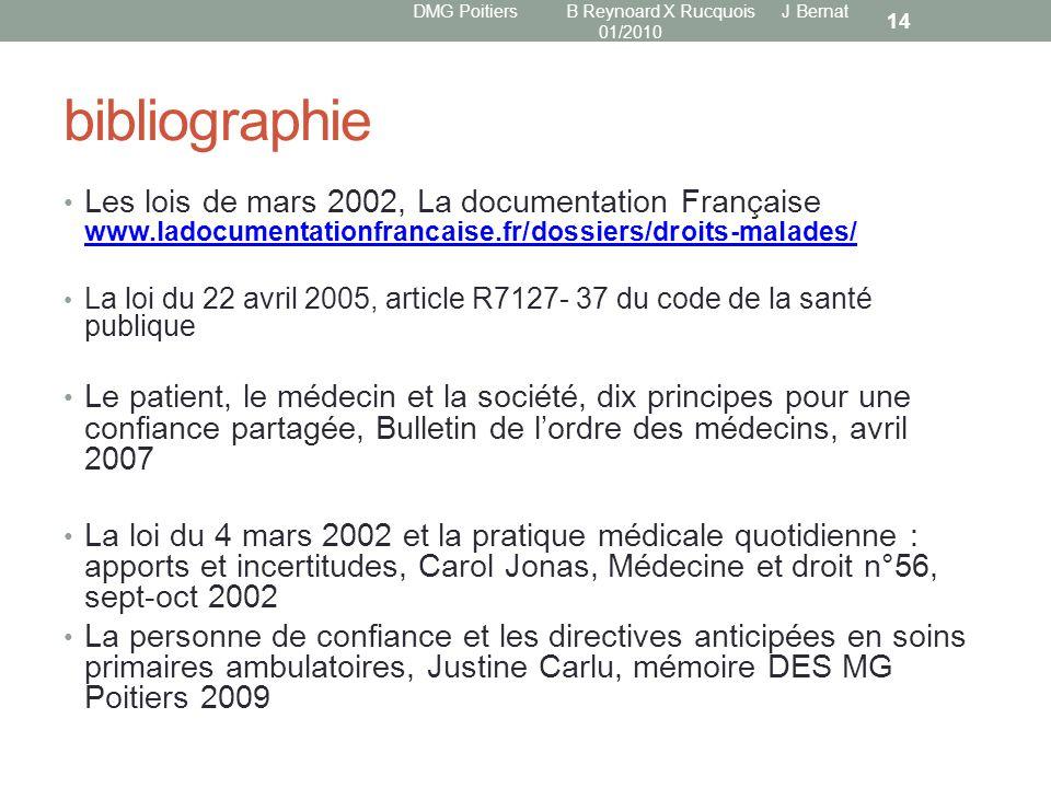 bibliographie Les lois de mars 2002, La documentation Française www.ladocumentationfrancaise.fr/dossiers/droits-malades/ www.ladocumentationfrancaise.