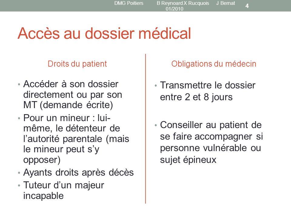 Accès au dossier médical Droits du patient Accéder à son dossier directement ou par son MT (demande écrite) Pour un mineur : lui- même, le détenteur d