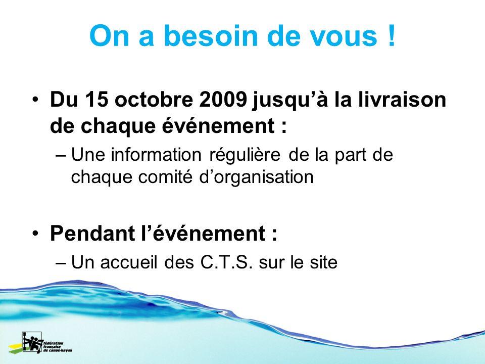 On a besoin de vous ! Du 15 octobre 2009 jusquà la livraison de chaque événement : –Une information régulière de la part de chaque comité dorganisatio