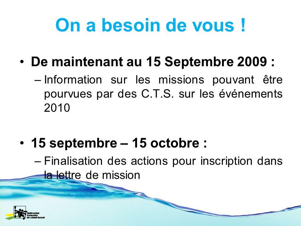 On a besoin de vous ! De maintenant au 15 Septembre 2009 : –Information sur les missions pouvant être pourvues par des C.T.S. sur les événements 2010