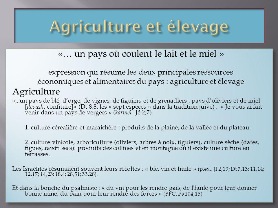 «… un pays où coulent le lait et le miel » expression qui résume les deux principales ressources économiques et alimentaires du pays : agriculture et