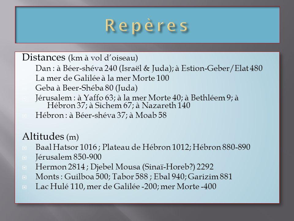 Distances (km à vol doiseau) Dan : à Béer-shéva 240 (Israël & Juda); à Estion-Geber/Elat 480 La mer de Galilée à la mer Morte 100 Geba à Beer-Shéba 80
