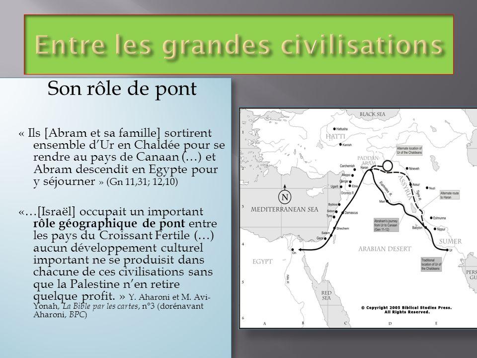 Son rôle de pont « Ils [Abram et sa famille] sortirent ensemble dUr en Chaldée pour se rendre au pays de Canaan (…) et Abram descendit en Egypte pour