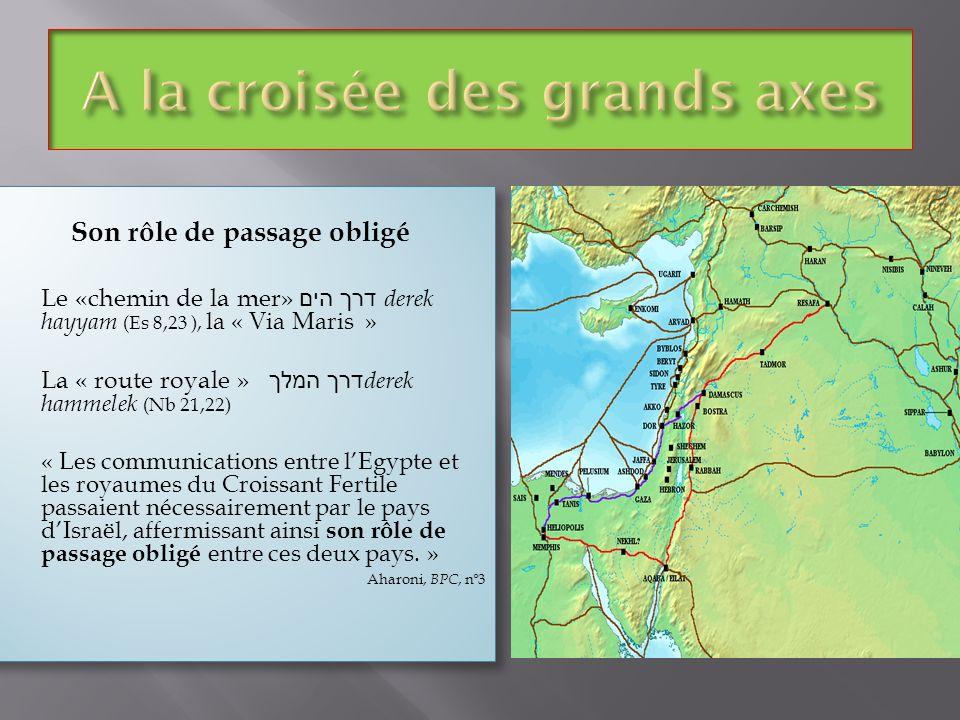 Son rôle de passage obligé Le «chemin de la mer» דרך הים derek hayyam (Es 8,23 ), la « Via Maris » La « route royale » דרך המלך derek hammelek (Nb 21,
