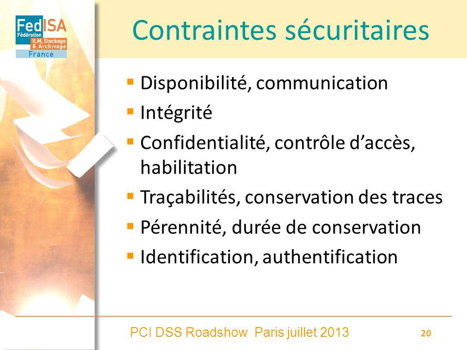 PCI DSS Roadshow Paris juillet 2013 20 Contraintes sécuritaires Disponibilité, communication Intégrité Confidentialité, contrôle daccès, habilitation