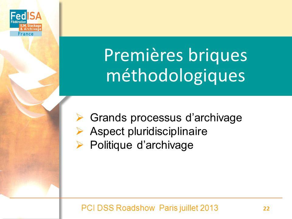PCI DSS Roadshow Paris juillet 2013 22 Premières briques méthodologiques Grands processus darchivage Aspect pluridisciplinaire Politique darchivage