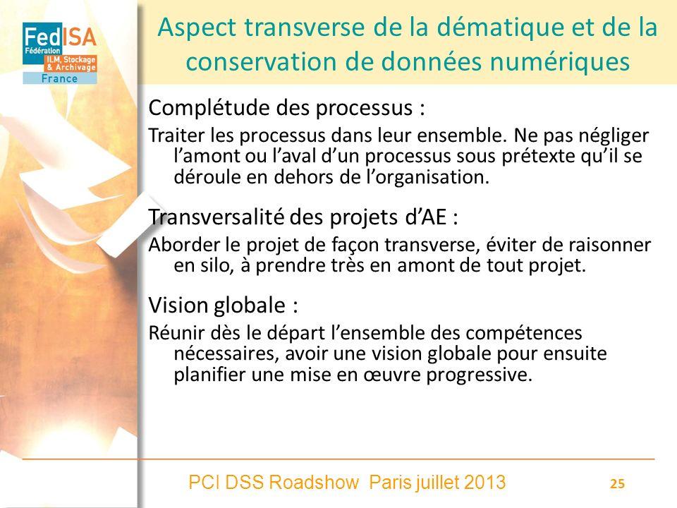 PCI DSS Roadshow Paris juillet 2013 25 Aspect transverse de la dématique et de la conservation de données numériques Complétude des processus : Traite