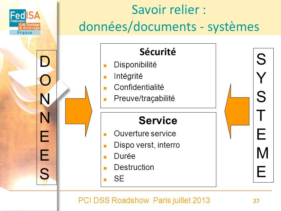PCI DSS Roadshow Paris juillet 2013 27 Savoir relier : données/documents - systèmes Sécurité Disponibilité Intégrité Confidentialité Preuve/traçabilit