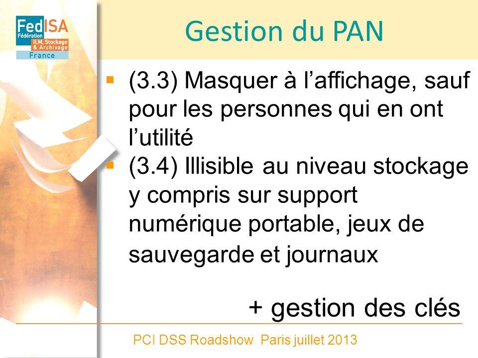 PCI DSS Roadshow Paris juillet 2013 Gestion du PAN (3.3) Masquer à laffichage, sauf pour les personnes qui en ont lutilité (3.4) Illisible au niveau s