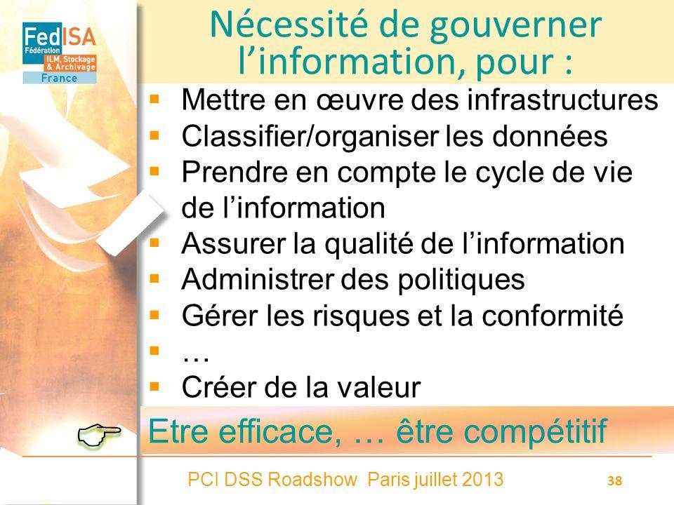 PCI DSS Roadshow Paris juillet 2013 38 Nécessité de gouverner linformation, pour : Mettre en œuvre des infrastructures Classifier/organiser les donnée