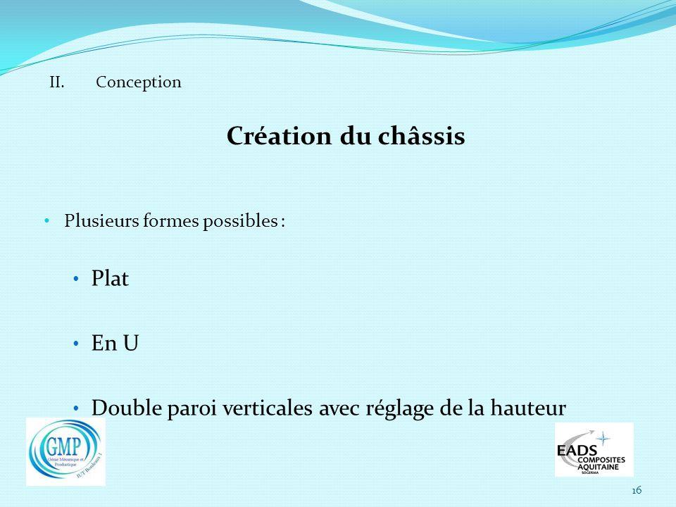 16 II. Conception Création du châssis Plusieurs formes possibles : Plat En U Double paroi verticales avec réglage de la hauteur