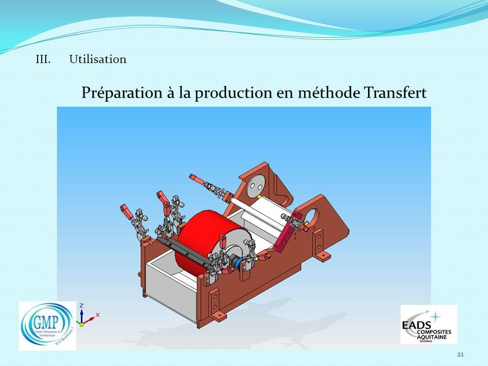 21 III. Utilisation Préparation à la production en méthode Transfert