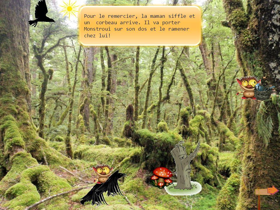Monstroui garde son trèfle dans la main et suit la flèche. Il voit par terre un nid tombé, il le replace sur une haute branche. La maman oiseau est co