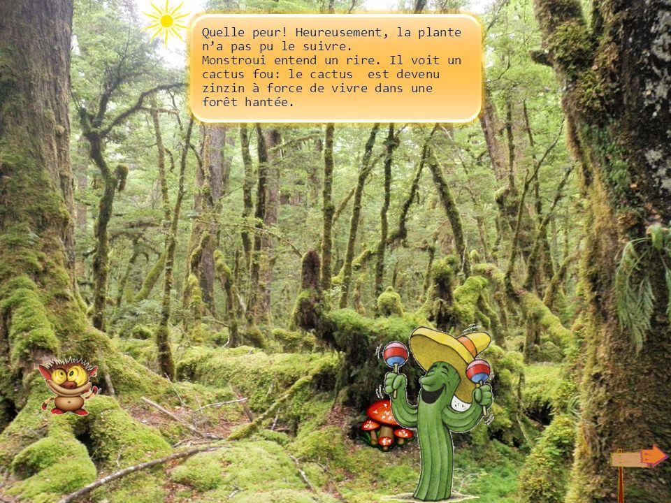 Cest effrayant! Monstroui sassoit un peu sur un rocher. A ce moment, une plante carnivore sort de terre. Ses dents se mettent à claquer, au secours!