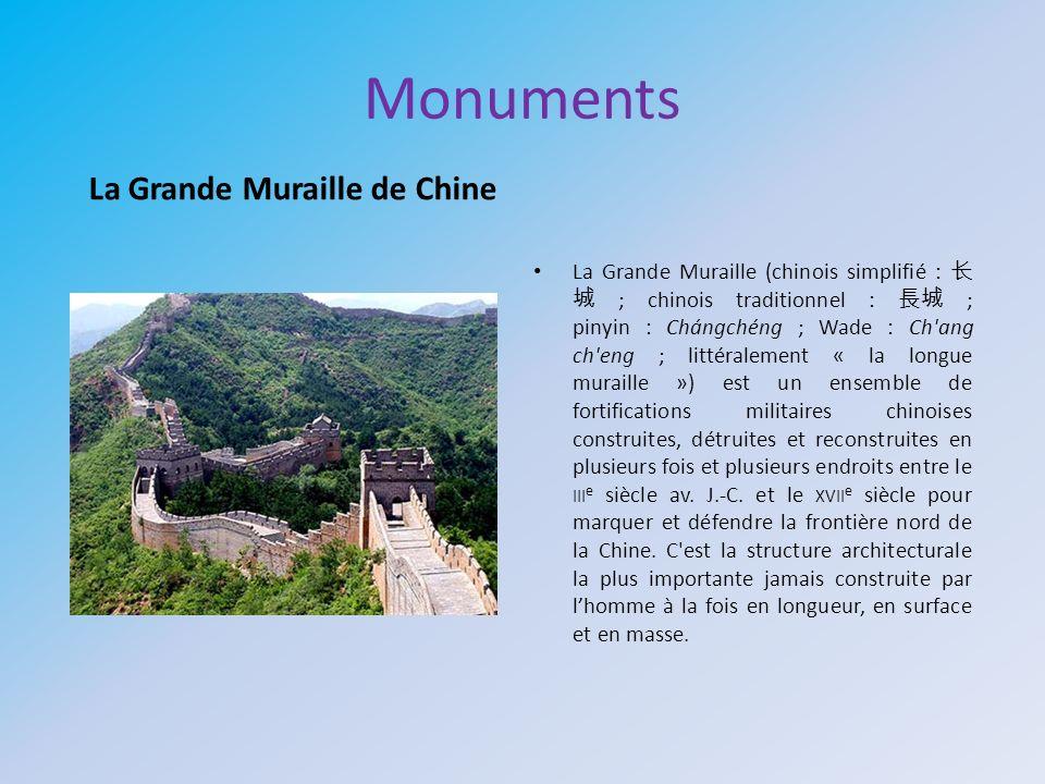 Monuments La Grande Muraille (chinois simplifié : ; chinois traditionnel : ; pinyin : Chángchéng ; Wade : Ch'ang ch'eng ; littéralement « la longue mu