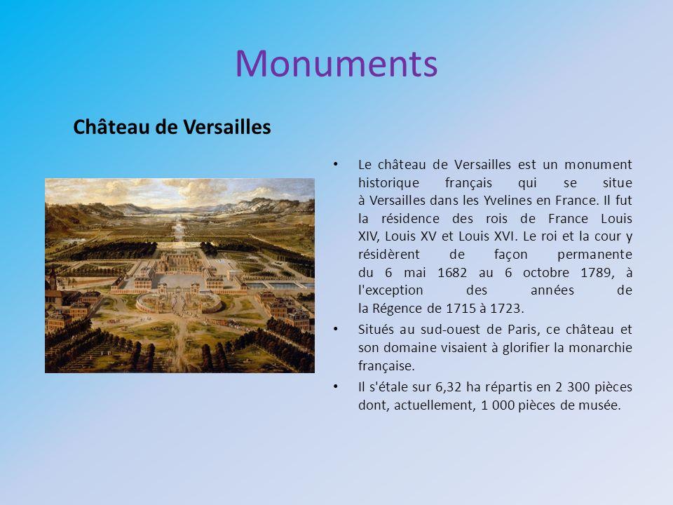 Monuments Le château de Versailles est un monument historique français qui se situe à Versailles dans les Yvelines en France. Il fut la résidence des