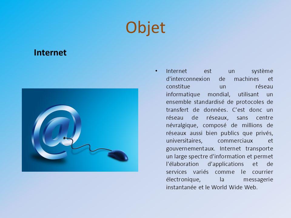 Objet Internet est un système d'interconnexion de machines et constitue un réseau informatique mondial, utilisant un ensemble standardisé de protocole