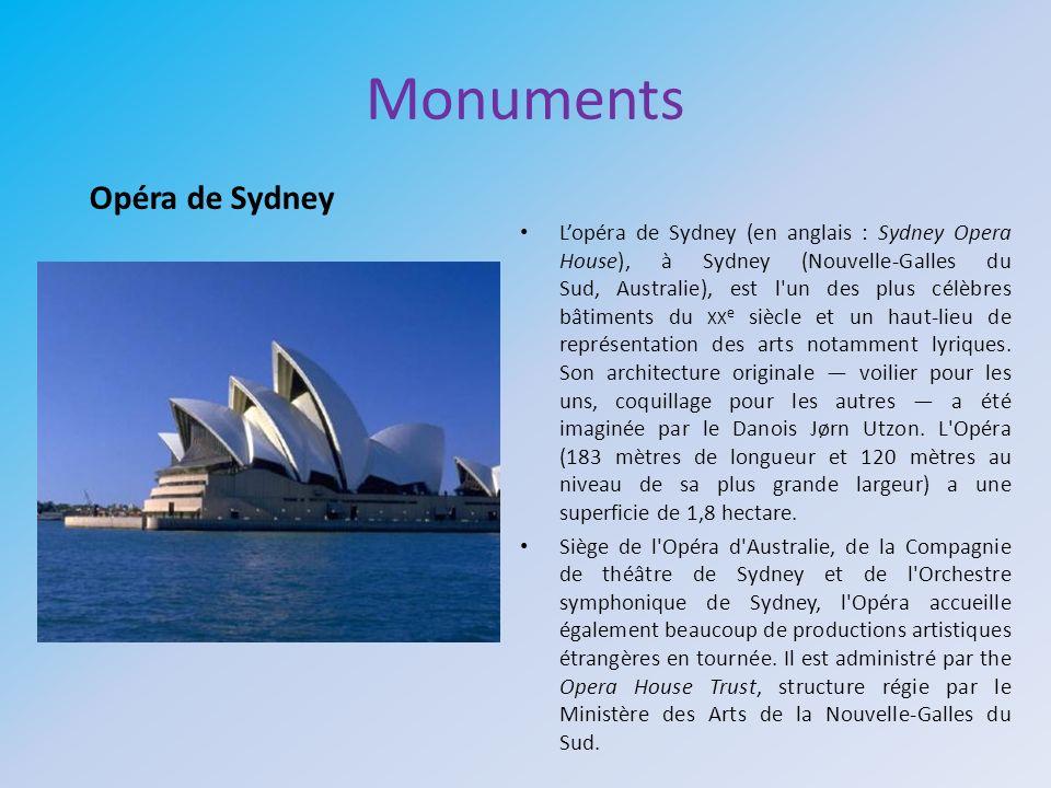 Monuments Lopéra de Sydney (en anglais : Sydney Opera House), à Sydney (Nouvelle-Galles du Sud, Australie), est l'un des plus célèbres bâtiments du XX