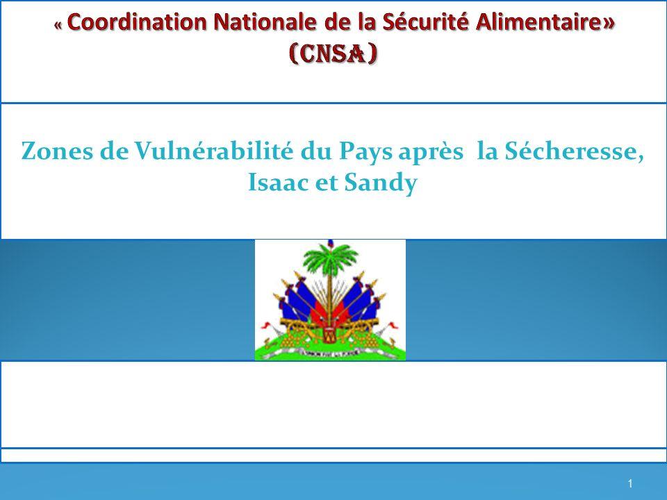 Zones de Vulnérabilité du Pays après la Sécheresse, Isaac et Sandy 1
