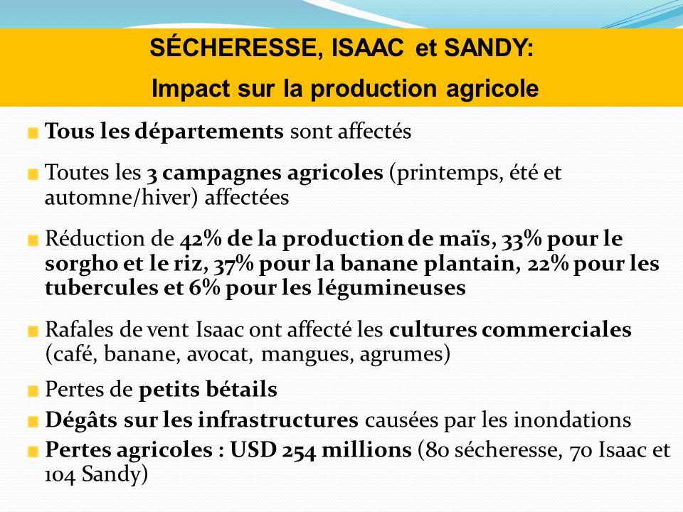 Tous les départements sont affectés Toutes les 3 campagnes agricoles (printemps, été et automne/hiver) affectées Réduction de 42% de la production de maïs, 33% pour le sorgho et le riz, 37% pour la banane plantain, 22% pour les tubercules et 6% pour les légumineuses Rafales de vent Isaac ont affecté les cultures commerciales (café, banane, avocat, mangues, agrumes) Pertes de petits bétails Dégâts sur les infrastructures causées par les inondations Pertes agricoles : USD 254 millions (80 sécheresse, 70 Isaac et 104 Sandy) SÉCHERESSE, ISAAC et SANDY: Impact sur la production agricole