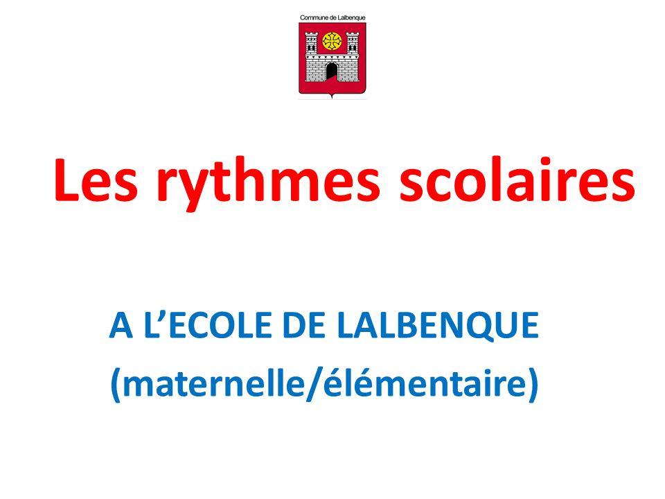 Les rythmes scolaires A LECOLE DE LALBENQUE (maternelle/élémentaire)