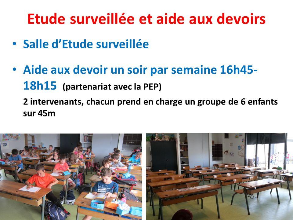 Etude surveillée et aide aux devoirs Salle dEtude surveillée Aide aux devoir un soir par semaine 16h45- 18h15 (partenariat avec la PEP) 2 intervenants, chacun prend en charge un groupe de 6 enfants sur 45m