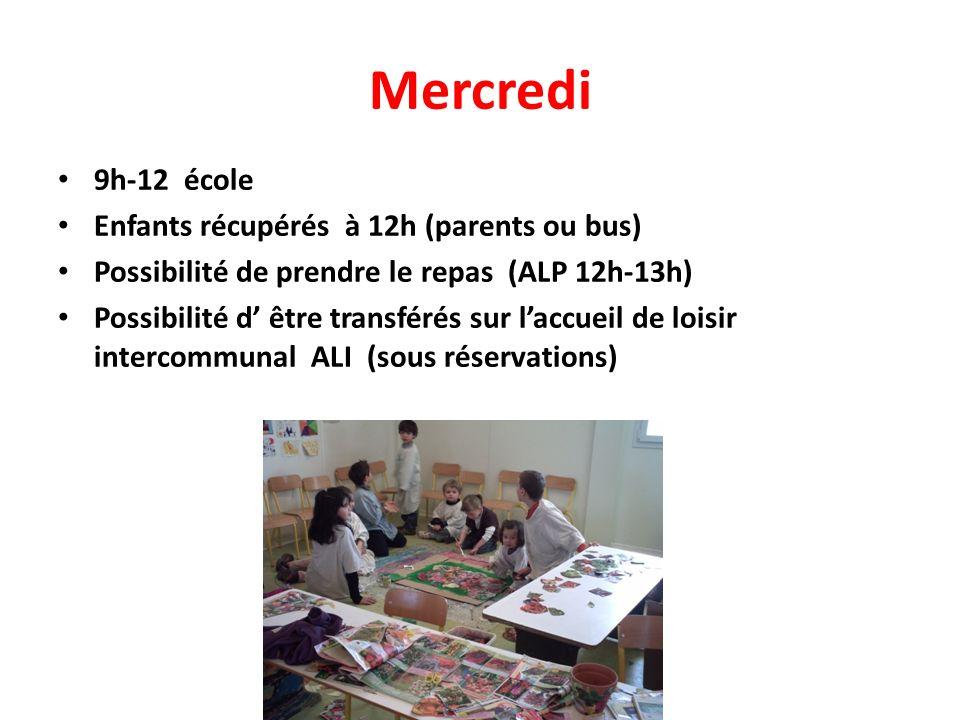 Mercredi 9h-12 école Enfants récupérés à 12h (parents ou bus) Possibilité de prendre le repas (ALP 12h-13h) Possibilité d être transférés sur laccueil de loisir intercommunal ALI (sous réservations)