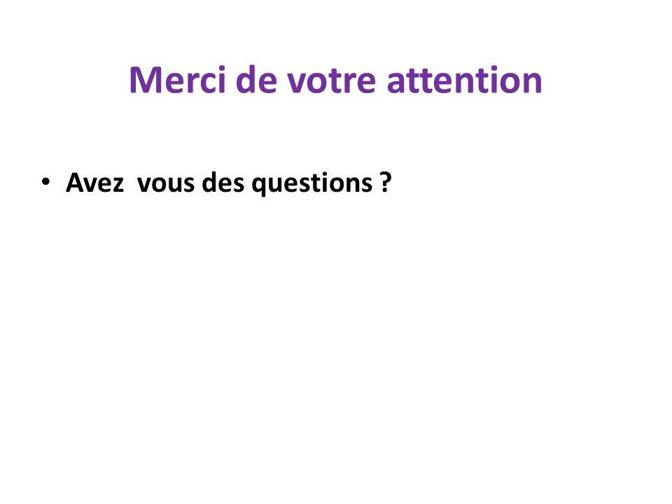 Merci de votre attention Avez vous des questions ?