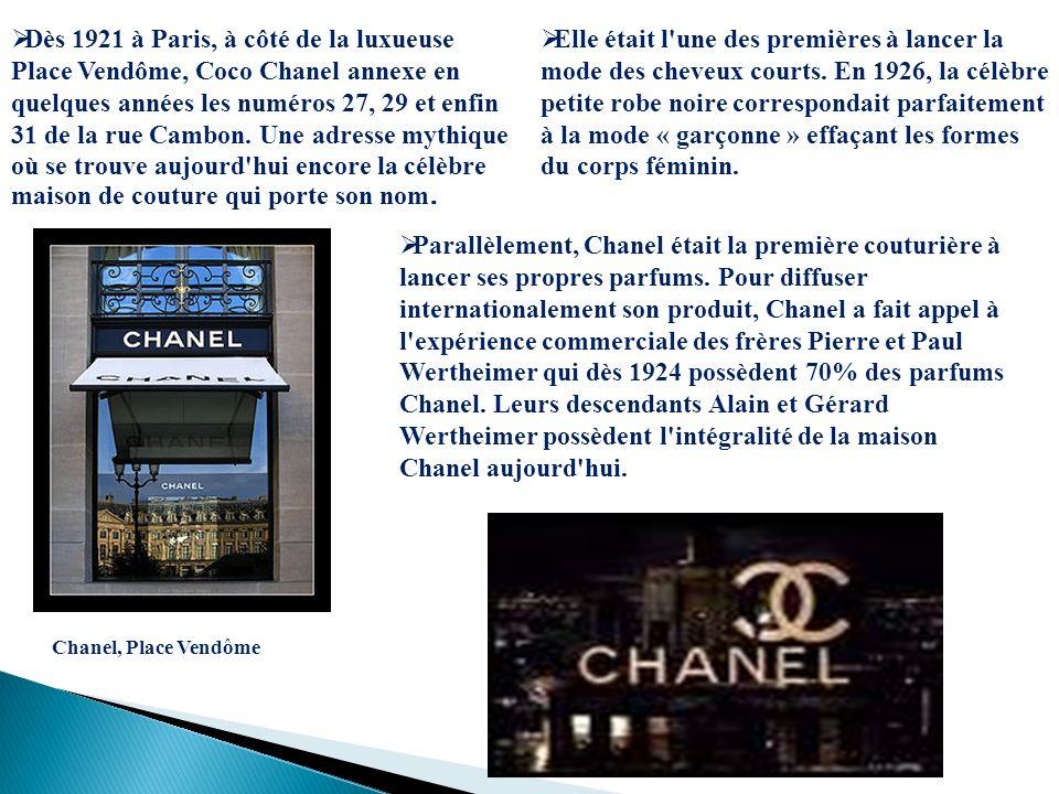 Dès 1921 à Paris, à côté de la luxueuse Place Vendôme, Coco Chanel annexe en quelques années les numéros 27, 29 et enfin 31 de la rue Cambon. Une adre