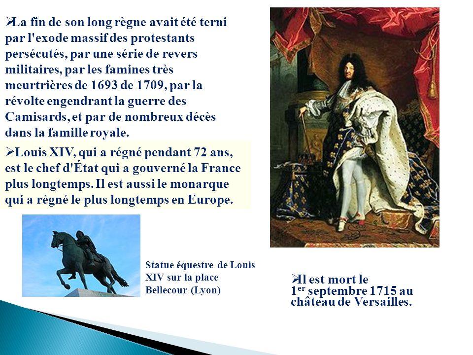 Louis XIV, qui a régné pendant 72 ans, est le chef d'État qui a gouverné la France plus longtemps. Il est aussi le monarque qui a régné le plus longte