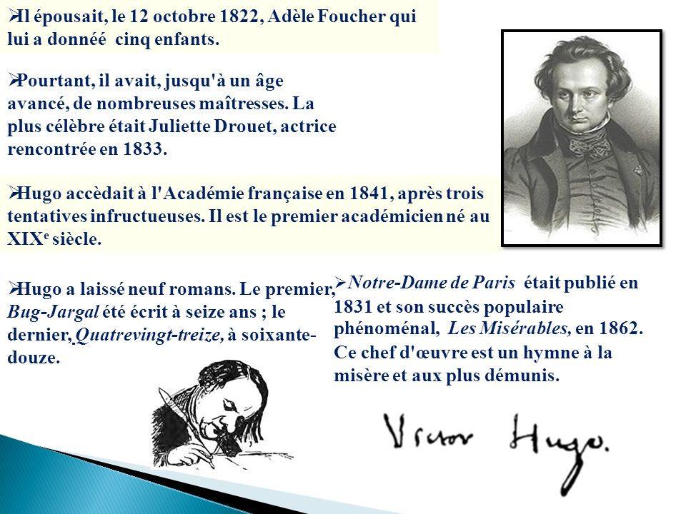 Il épousait, le 12 octobre 1822, Adèle Foucher qui lui a donnéé cinq enfants. Pourtant, il avait, jusqu'à un âge avancé, de nombreuses maîtresses. La