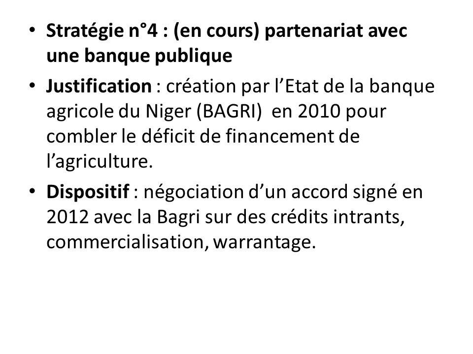 Stratégie n°4 : (en cours) partenariat avec une banque publique Justification : création par lEtat de la banque agricole du Niger (BAGRI) en 2010 pour combler le déficit de financement de lagriculture.