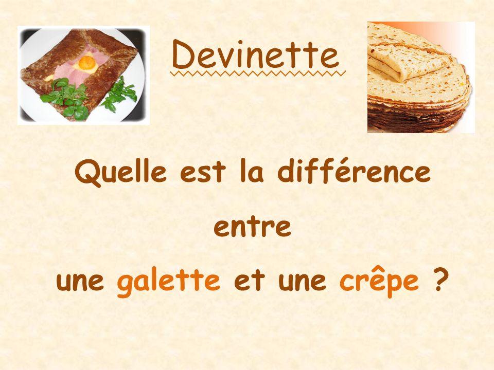 Devinette Quelle est la différence entre une galette et une crêpe ?