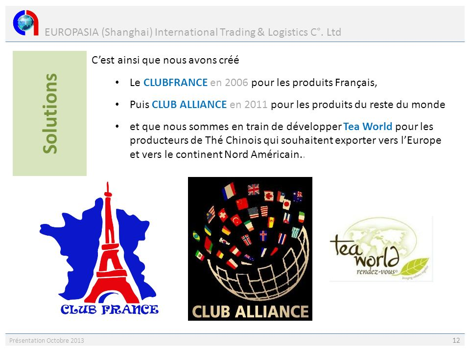 EUROPASIA (Shanghai) International Trading & Logistics C°. Ltd Présentation Octobre 2013 12 Cest ainsi que nous avons créé Le CLUBFRANCE en 2006 pour