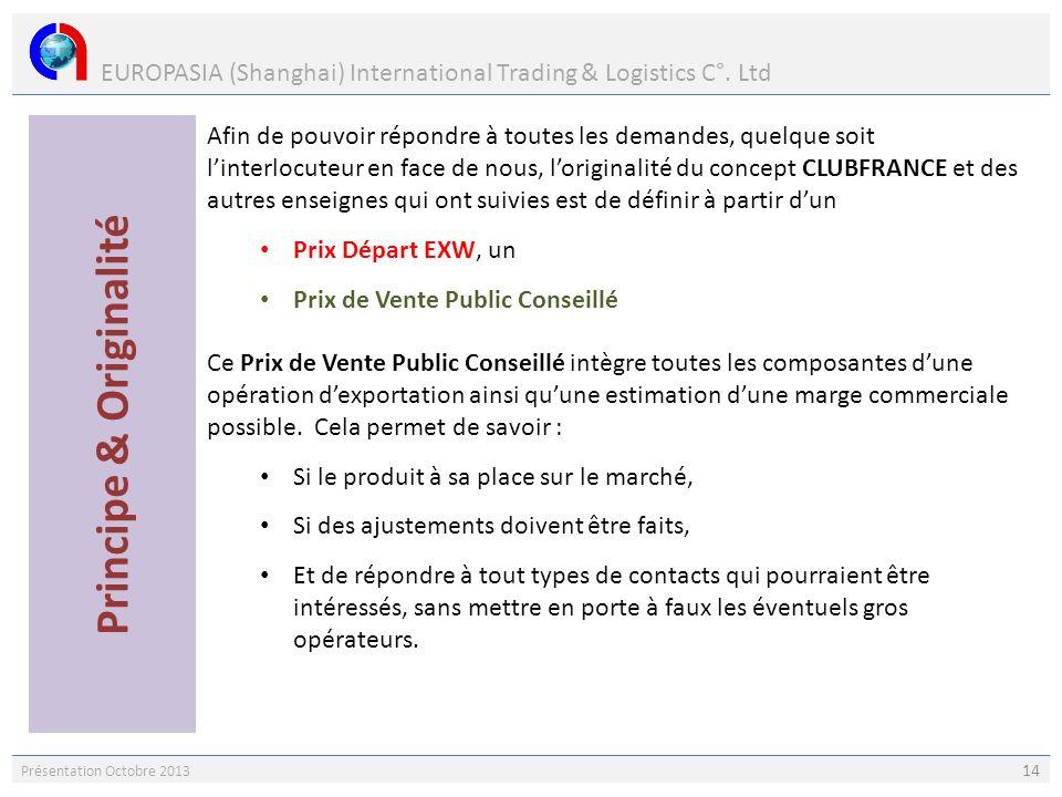 EUROPASIA (Shanghai) International Trading & Logistics C°. Ltd Présentation Octobre 2013 14 Afin de pouvoir répondre à toutes les demandes, quelque so